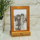 Copper Photo Frame with Personalised Engraved Solid Oak Wood Stand